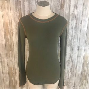 Free People thermal top w/ wrist zippers. Sz. M